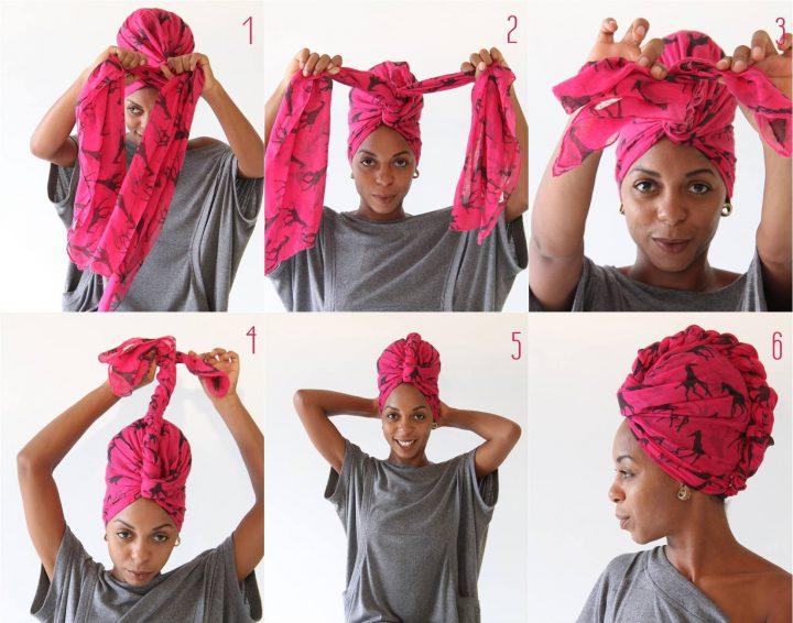 Скрыть загрязненные волосы, отсутствие укладки или окрашивания поможет платок, который можно причудливо повязать на голову в виде тюрбана