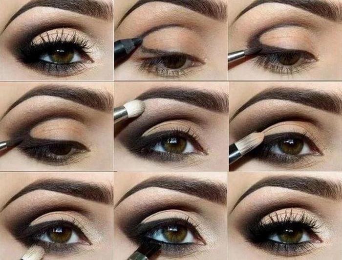 вечерний макияж - Красим глаза и брови