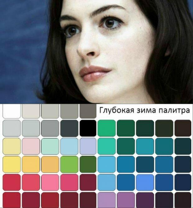 Зимний цветотип построен на контрастах: волосы густые, темные, кожа бледная, губы яркие