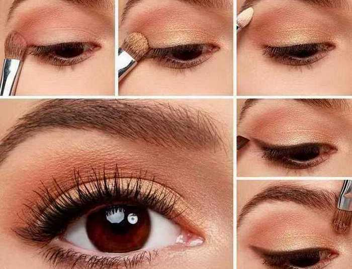 Дневной макияж глаз для кареглазых пошагово