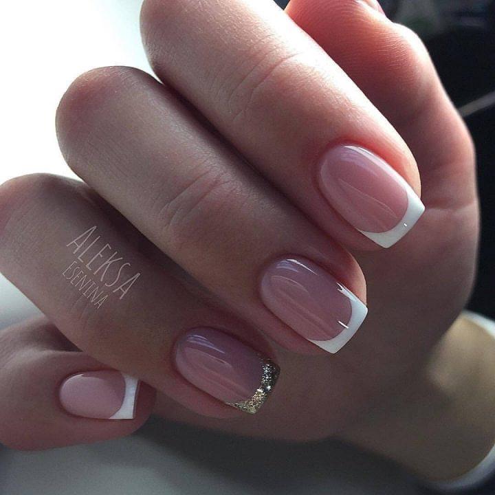 Красивый френч невесты на короткие ногти формы квадрат.