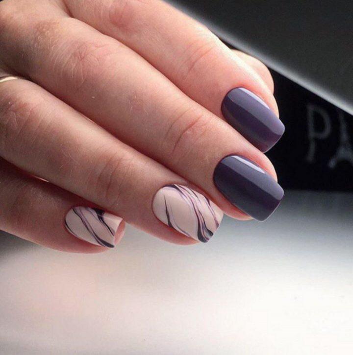 Модный маникюр с использованием рисунка на ногтях.
