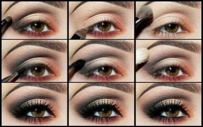 Вечерний макияж для карих глаз брюнеток пошагово